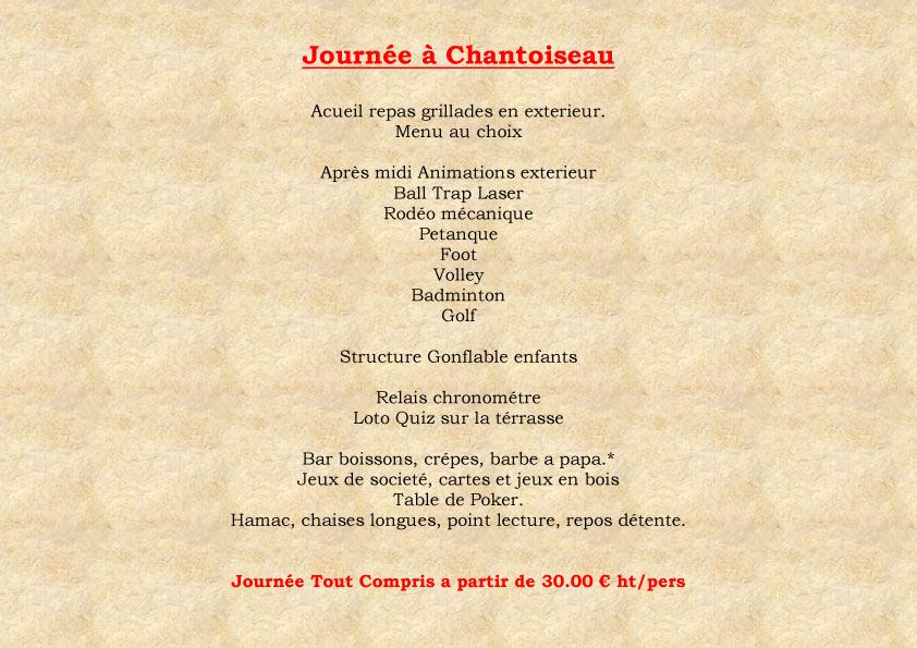 Menus Journe a Chantoiseau
