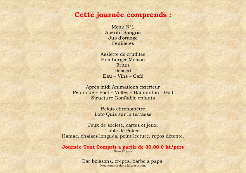 Menus Journe a